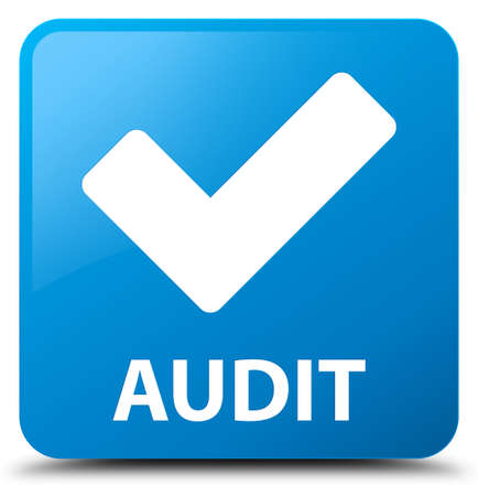 right choice: Audit (validate icon) cyan blue square button Stock Photo