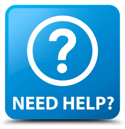 need help: Need help (question icon) cyan blue square button