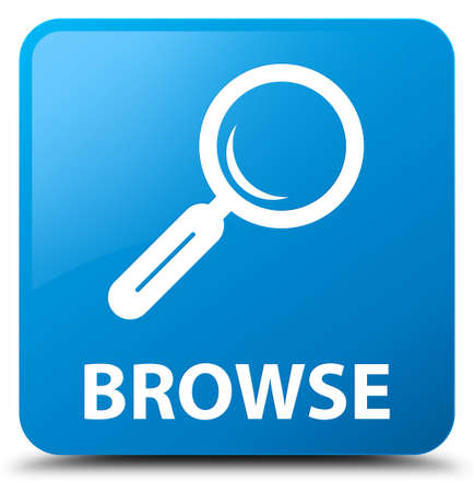browse: Browse cyan blue square button Stock Photo