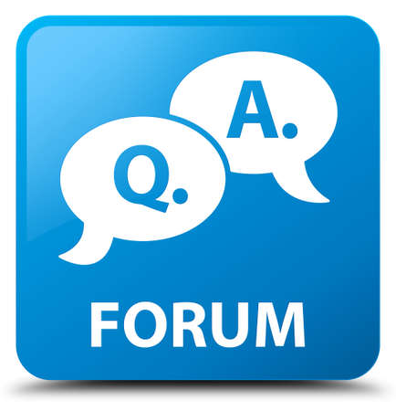 question and answer: Forum (question answer bubble icon) cyan blue square button