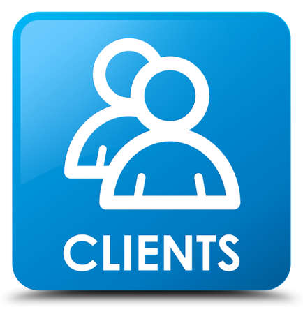 Clients (group icon) cyan blue square button