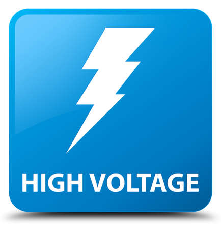 high voltage: High voltage (electricity icon) cyan blue square button