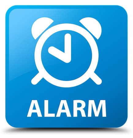 cyan: Alarm cyan blue square button