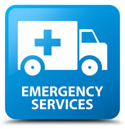 emergency services: Emergency services cyan blue square button Stock Photo
