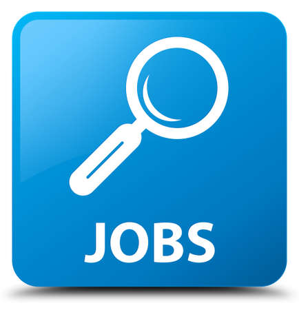 jobs: Jobs cyan blue square button Stock Photo