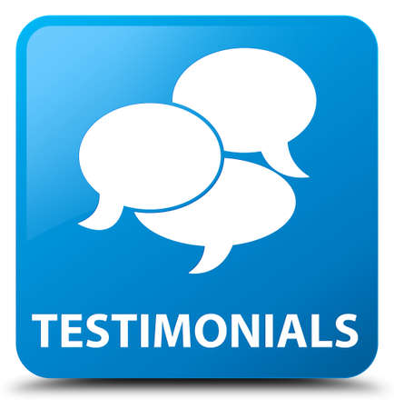 authenticate: Testimonials (comments icon) cyan blue square button Stock Photo