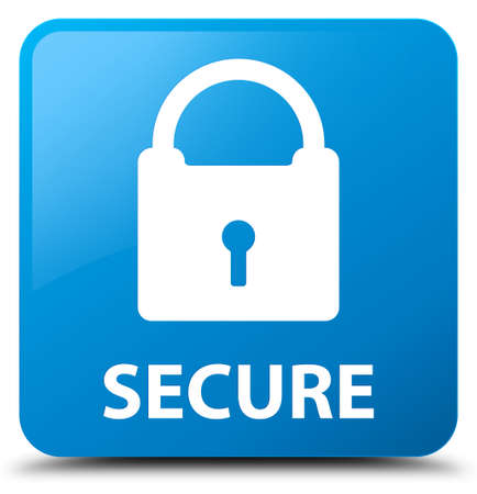 padlock icon: Secure (padlock icon) cyan blue square button