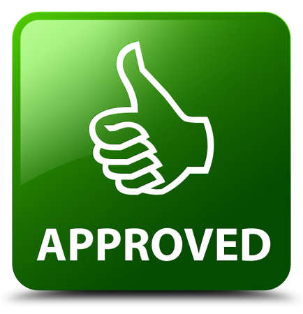 allow: Approved (thumbs up icon) green square button Stock Photo