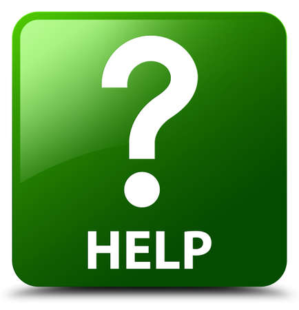 Help (question icon) green square button Stock Photo