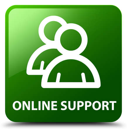 support group: Online support (group icon) green square button