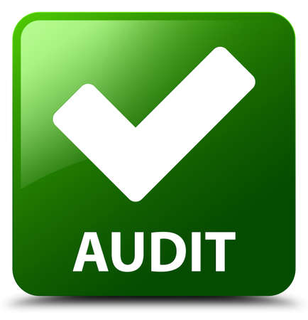 confirm: Audit (validate icon) green square button Stock Photo