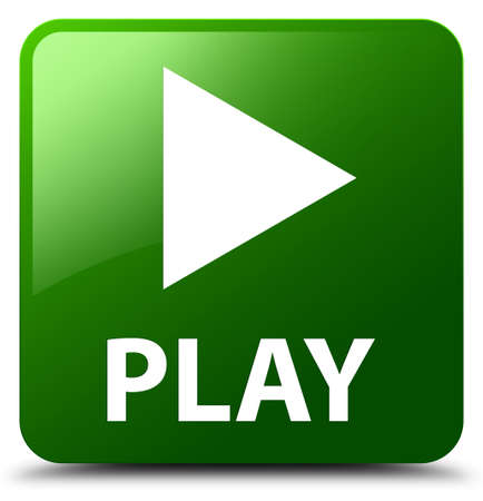 Play green square button Stock Photo