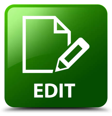 Edit green square button Stock Photo