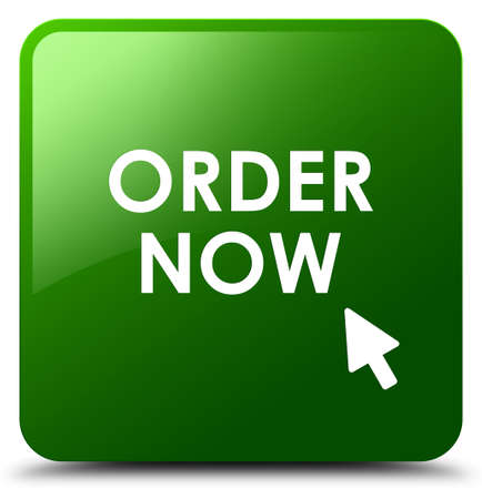 Order now green square button Stock Photo