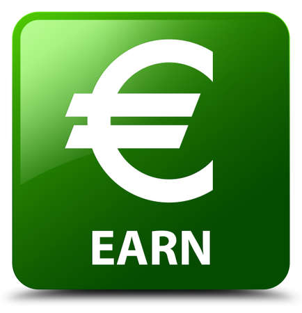 euro sign: Earn (euro sign) green square button Stock Photo