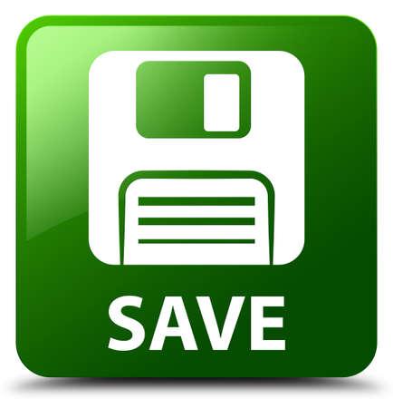 floppy: Save (floppy disk icon) green square button
