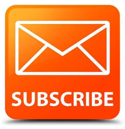 subscribe: Subscribe (email icon) orange square button Stock Photo
