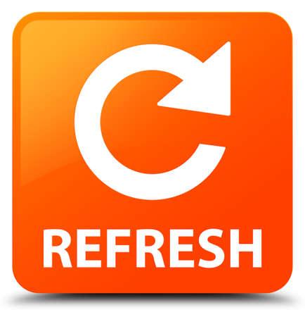 refrescar: Refresh botón cuadrado de color naranja (icono de la flecha girar) Foto de archivo