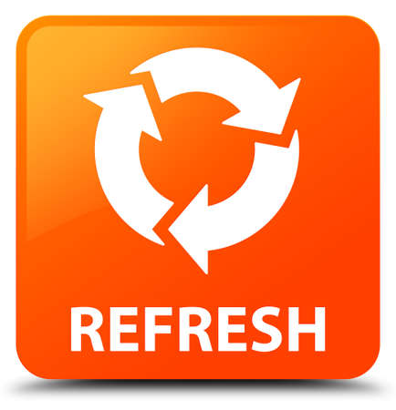 Refresh orange square button Foto de archivo