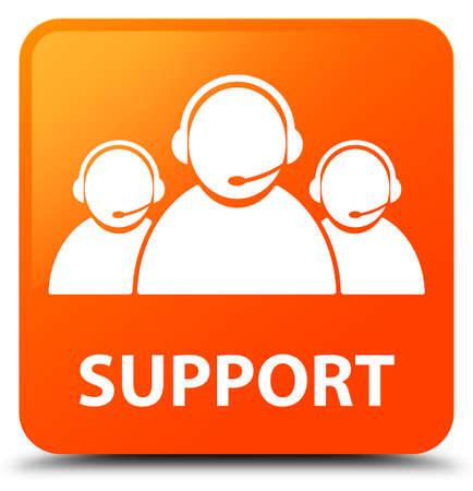 Support (customer care team icon) orange square button