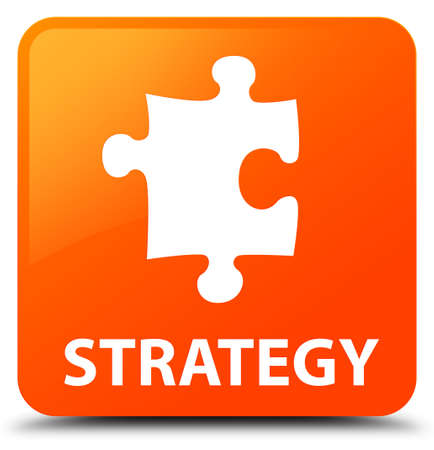 Strategy (puzzle icon) orange square button Stock Photo