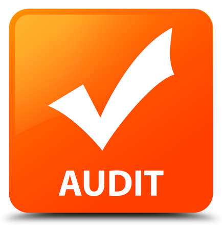 validate: Audit (validate icon) orange square button Stock Photo
