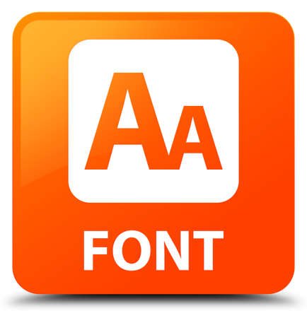 Font orange square button Stock Photo