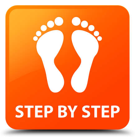 Step by step (footprint icon) orange square button