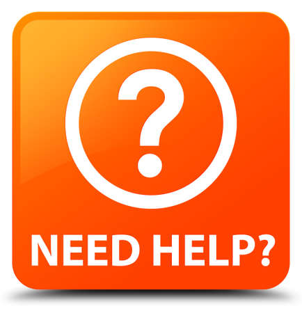 need help: Need help (question icon) orange square button