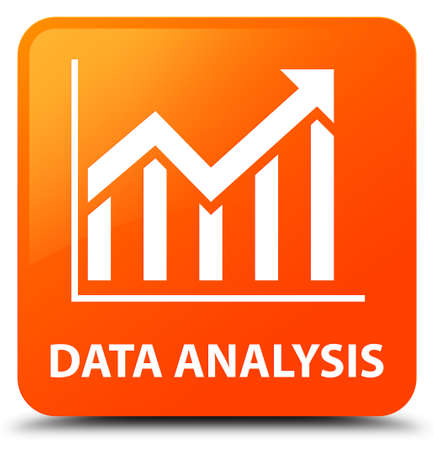 Data analysis (statistics icon) orange square button