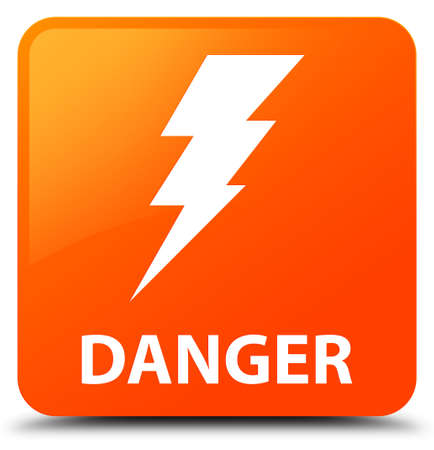 Danger (electricity icon) orange square button