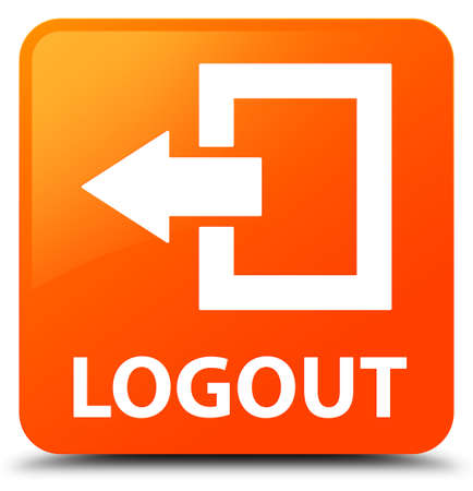 log off: Logout orange square button