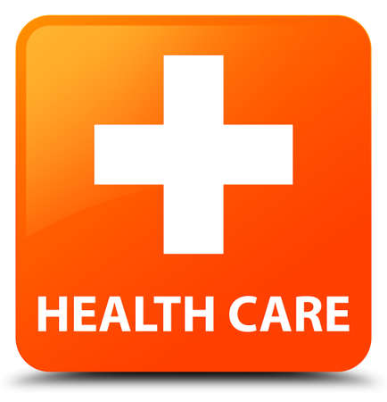 plus sign: Health care (plus sign) orange square button Stock Photo