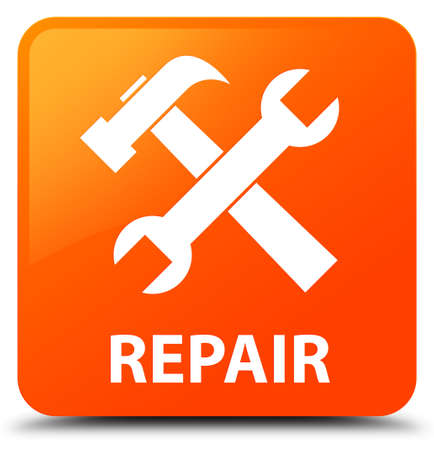 Repair (tools icon) orange square button Stock Photo