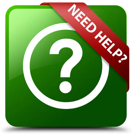 Need help (question icon) green square button Stock Photo
