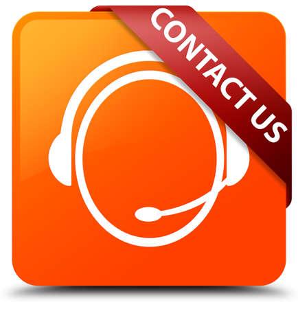 Contact us (customer care icon) orange square button