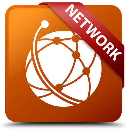 Network (global network icon) brown square button Stock Photo