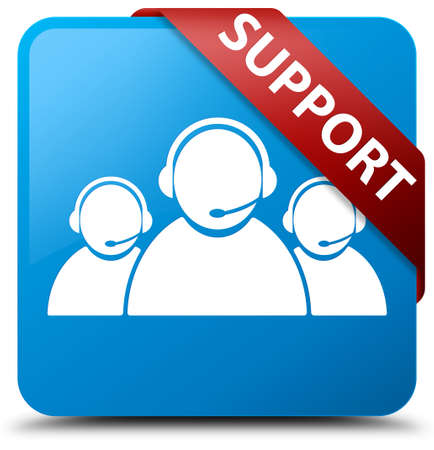 Support (customer care team icon) cyan blue square button