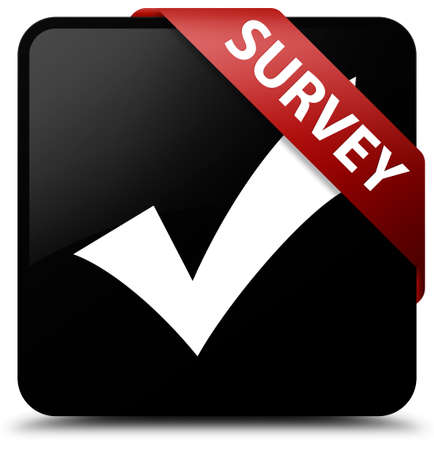 validate: Survey (validate icon) black square button Stock Photo
