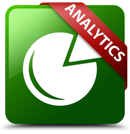 Analytics (graph icon) green square button Stock Photo