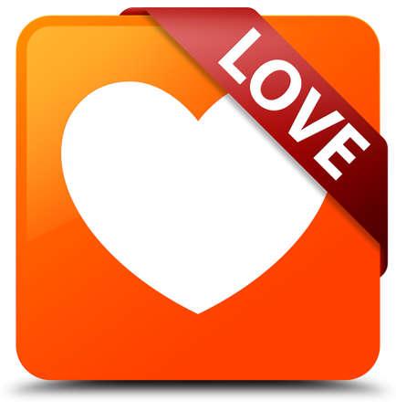 Love orange square button Stock Photo