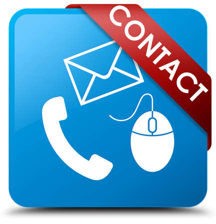 Contact (phone, email and mouse icon) cyan blue square button