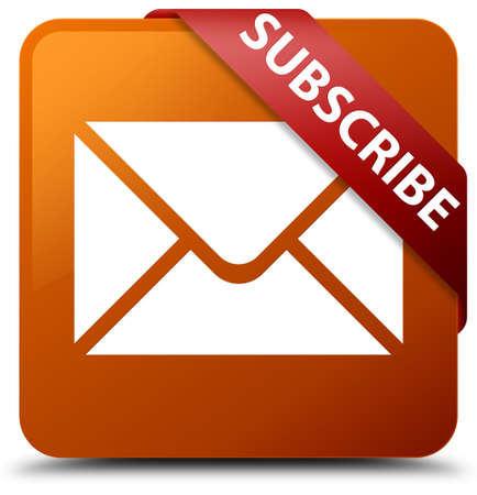 Subscribe (email icon) brown square button Stock Photo