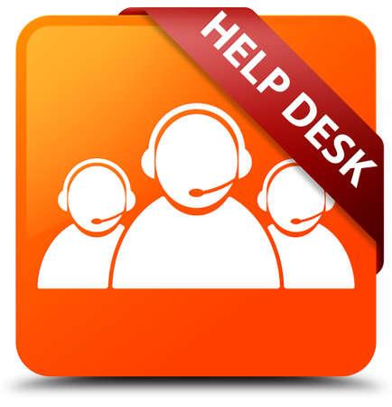 Help desk (customer care team icon) orange square button Stock Photo
