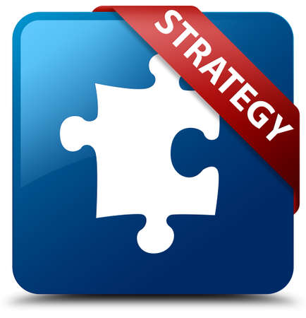 Strategy (puzzle icon) blue square button