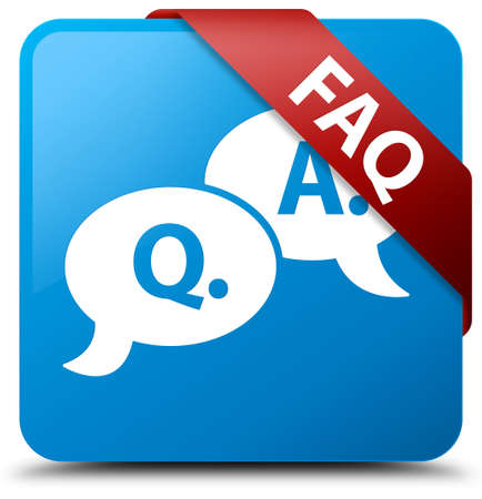 Faq (question answer bubble icon) cyan blue square button