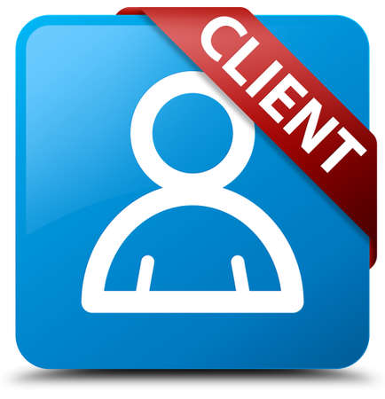 Client (member icon) cyan blue square button Stock Photo