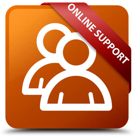 Online support (group icon) brown square button