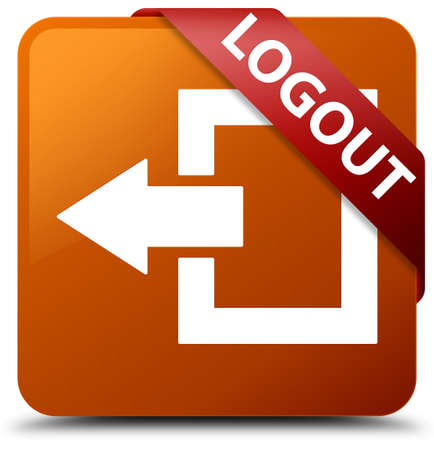 Logout brown square button Stock Photo