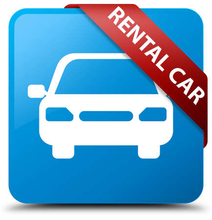 blue button: Rental car cyan blue square button Stock Photo